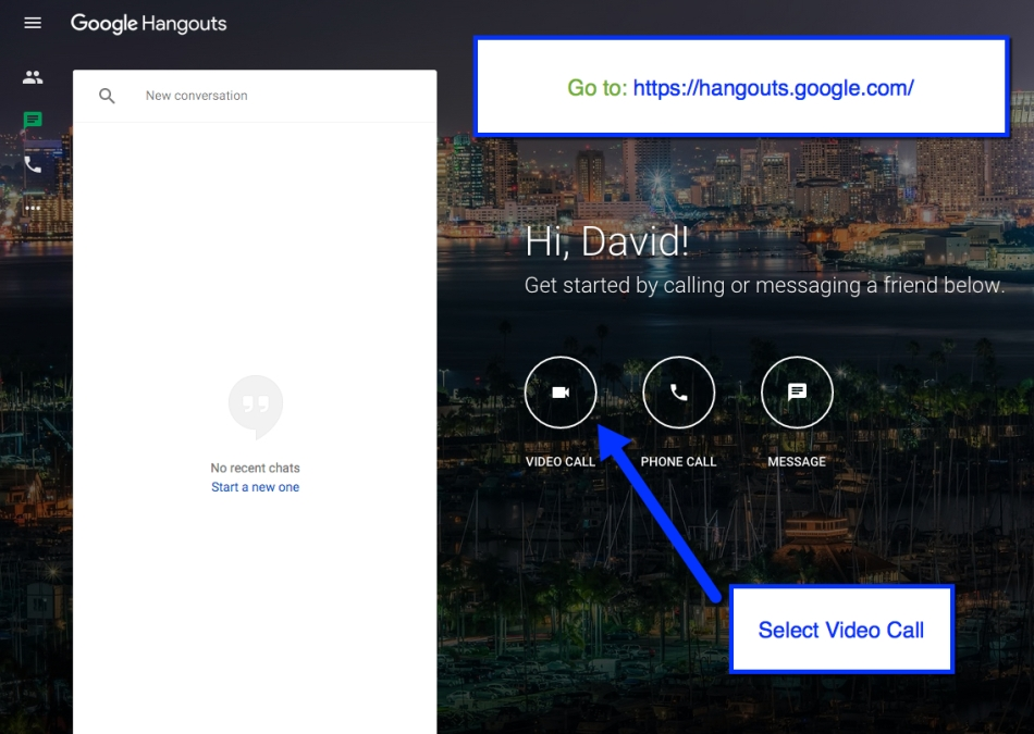 Go to the new Google Hangouts site: https://hangouts.google.com/